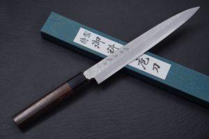 Knife-Art-Sushimesser-Fleischmesser-Yanagiba-Hideo-Kitaoka-Frontal-mit-Box