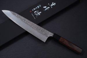 Knife-Art-Kochmesser-Gyuto-schwarz-Yu-Kurosaki-Shizuku-Frontal-mit-Box